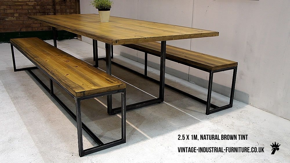 Wood Top Metal Legs Industrial Dining Table From Http://vintage Regarding Dining Tables With Metal Legs Wood Top (Image 24 of 25)
