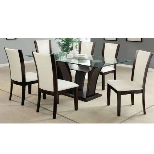 Wooden And Glass Brown And White 6 Seater Dining Table, Rs 8000 /set With Glass 6 Seater Dining Tables (Image 25 of 25)