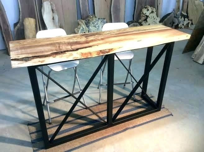 Wooden Bar Table With Metal Legs – Photos Table And Pillow In Washed Old Oak & Waxed Black Legs Bar Tables (View 6 of 25)