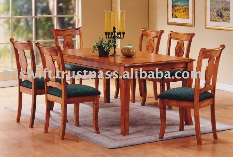 Wooden Dining Set (1+6),classical Wooden Chair,dining Chair,dining Regarding Wooden Dining Sets (Image 21 of 25)