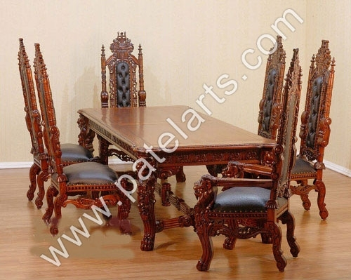 Wooden Dining Set, Wooden Carved Dining Table, Wooden Carved Dining With Indian Dining Chairs (Image 24 of 25)