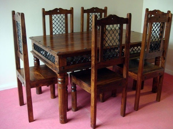 Wooden Dining Sets | Indian Dining Sets | India Wooden Dining Set In Indian Dining Tables And Chairs (View 7 of 25)