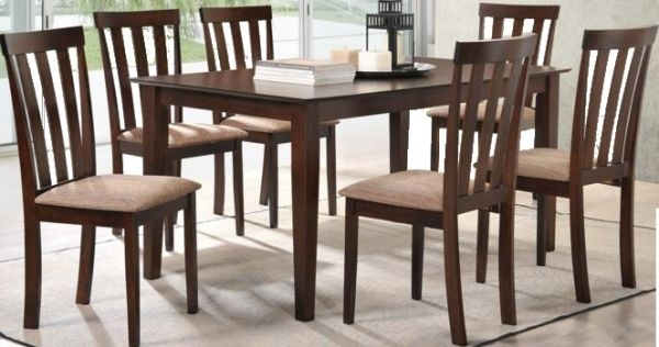 Wooden Dining Table Set With 6 Chairs, Brown | Souq – Uae For Wooden Dining Sets (View 14 of 25)