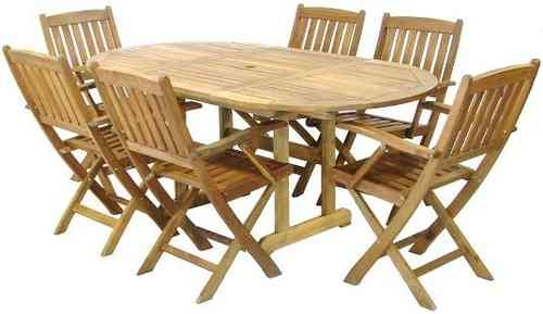 Wooden Garden Furniture – Six Seater Set / Parasol – Catering In Garden Dining Tables And Chairs (View 23 of 25)