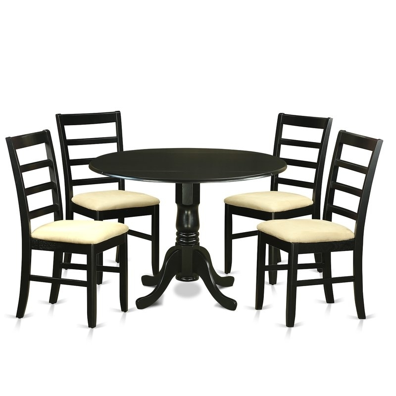 Wooden Importers Dublin 5 Piece Dining Set | Wayfair Regarding Caira Black 5 Piece Round Dining Sets With Upholstered Side Chairs (View 13 of 25)