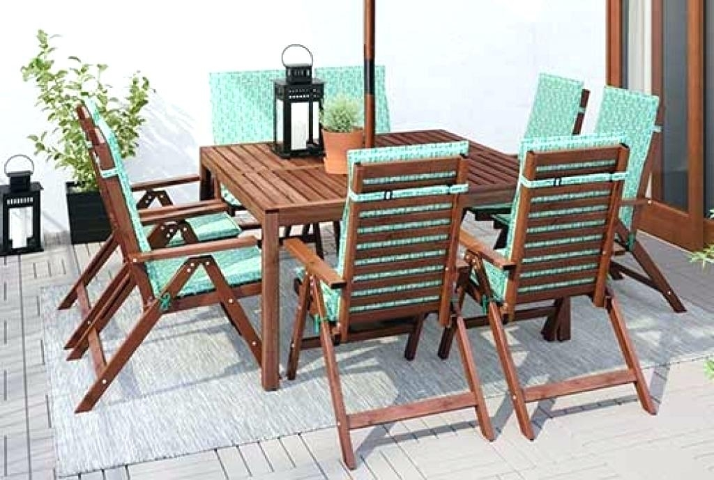 Wooden Patio Dining Table 7 Piece Teak All Weather Wicker Patio With Outdoor Dining Table And Chairs Sets (View 16 of 25)
