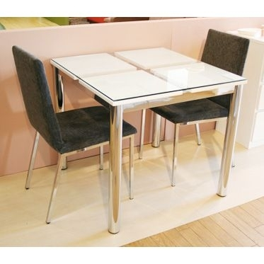 Woodylife: Dining Table Made Of Glass Width 80 Cm White White In Dining Tables For Two (Image 25 of 25)