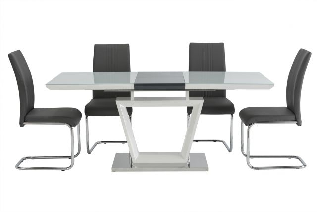 World Furniture Arlington White/ Grey Gloss & Glass Extending Dining In White Extendable Dining Tables (Image 24 of 25)