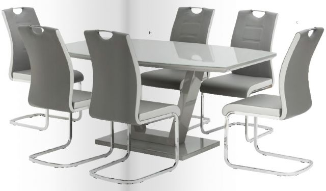 World Furniture Venice High Gloss & Glass White Or Grey Dining Table Regarding Hi Gloss Dining Tables Sets (Image 25 of 25)