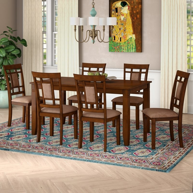 World Menagerie Ighli 7 Piece Dining Set & Reviews | Wayfair In Norwood 6 Piece Rectangular Extension Dining Sets With Upholstered Side Chairs (Image 25 of 25)