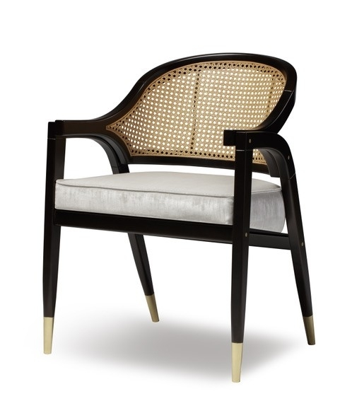 Wormley Dining Chair – Natural Wood Or Black Lacquer And Rattan Regarding Black Dining Chairs (Image 24 of 25)