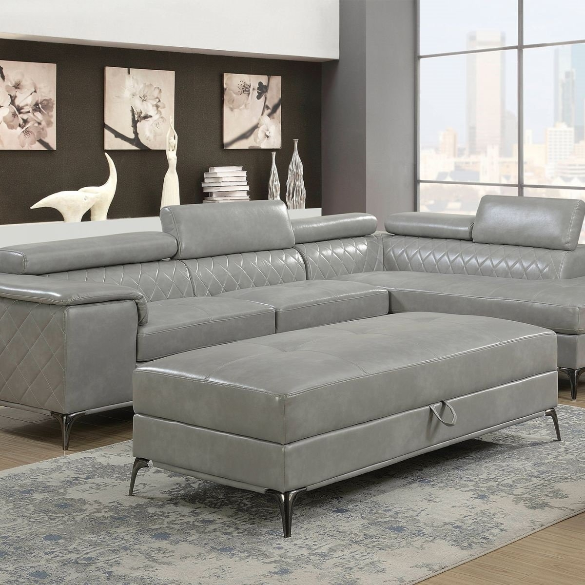 Worthington Grey 2 Pc Sectional & Ottoman | Badcock & More Inside Cosmos Grey 2 Piece Sectionals With Laf Chaise (Image 25 of 25)