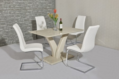Wow Slim High Gloss Cream120 Cm Dining Table Inside Cream Gloss Dining Tables And Chairs (Image 25 of 25)