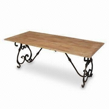 Wrought Iron Dining Table With Brass Fitting And Mango Wood Top Regarding Mango Wood/iron Dining Tables (View 4 of 25)