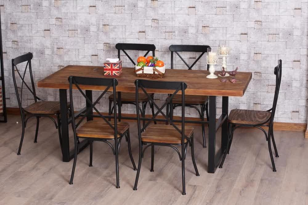 Wrought Iron Kitchen Tables Displaying Attractive Furniture Ideas Within Iron And Wood Dining Tables (View 18 of 25)