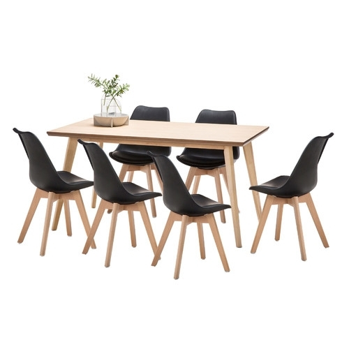 Wyatt Dining Table & 6 Padded Eames Replica Chairs Set | Temple With Regard To Wyatt Dining Tables (View 10 of 25)