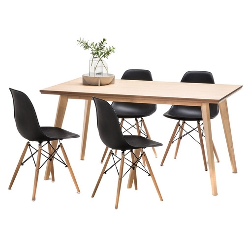 Wyatt Dining Table Set With 4 Eames Replica Chairs | Temple & Webster With Wyatt Dining Tables (Image 22 of 25)