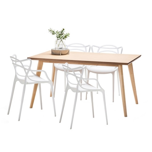 Wyatt Dining Table Set With 4 Phillipe Starck Master Replica Chairs Throughout Wyatt Dining Tables (View 24 of 25)