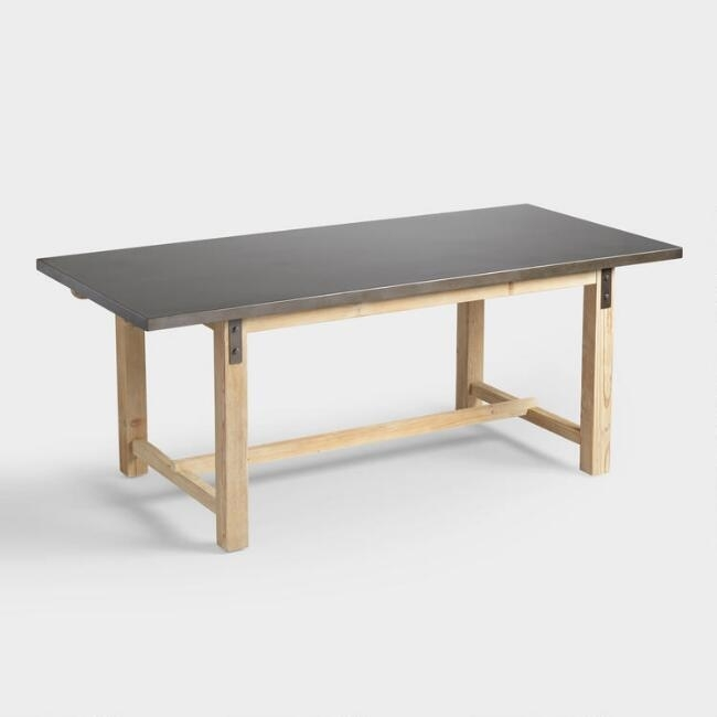 Wyatt Metal Top Wood Dining Table With Wyatt Dining Tables (Image 24 of 25)
