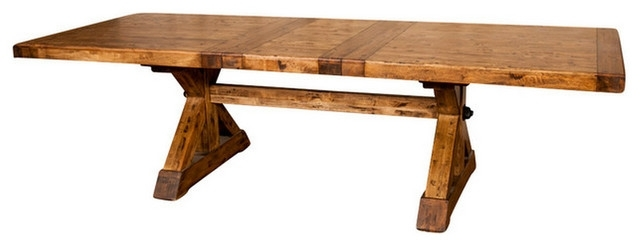 "X Base Trestle Dining Table With Extension 88-110"" - Rustic - Dining with Rustic Dining Tables"