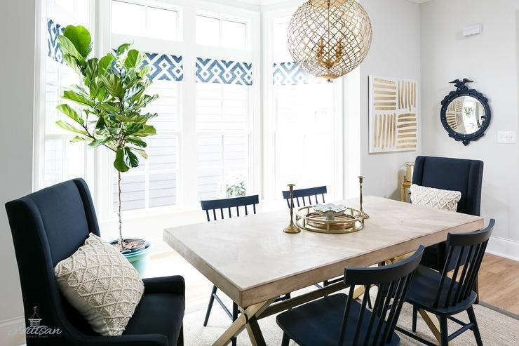 X Based Dining Table With Navy Blue Dining Chairs - Transitional regarding Blue Dining Tables