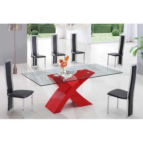 X Glass Dining Table In High Gloss Red With 6 Dining Chairs For Red Gloss Dining Tables (View 7 of 25)