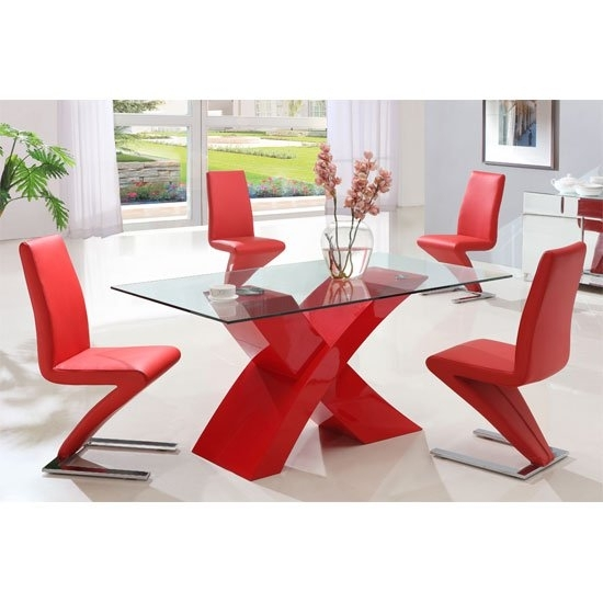 X Glass Dining Table In Red High Gloss Base And 6 Z Chairs in Red Gloss Dining Tables