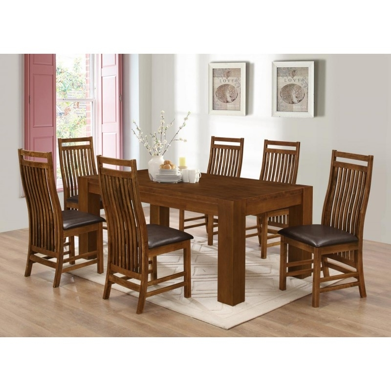 Yaxley Large Wooden Dining Table With Six Chairs – Rustic Oak Finish Intended For Dining Tables And Six Chairs (Image 25 of 25)