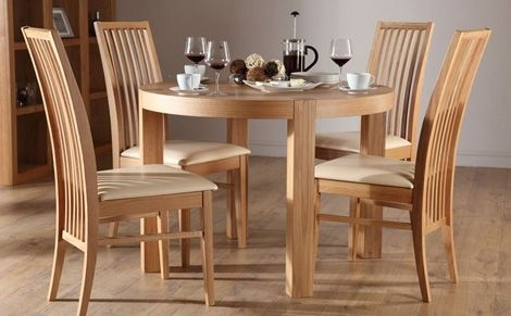 York Round Oak Dining Table And 4 Newark Chairs Set (Ivory Seat Pad With Regard To Round Oak Dining Tables And 4 Chairs (Image 25 of 25)