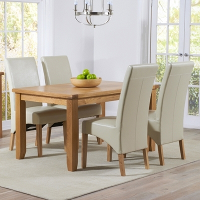 Yorkshire Solid Oak 140Cm Dining Table With 4 Rome Cream Chairs Within Cream And Wood Dining Tables (View 14 of 25)