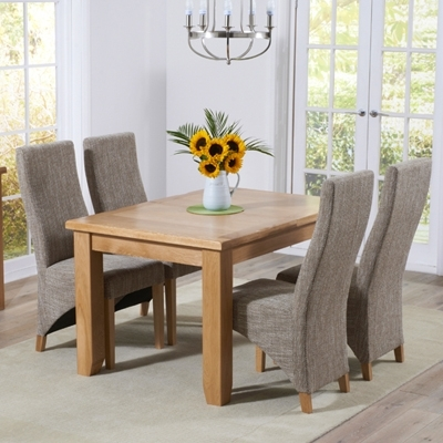 Yorkshire Solid Oak Extending Dining Table With 6 Henry Tweed Chairs Within Extending Dining Room Tables And Chairs (Image 25 of 25)