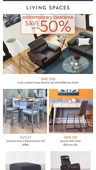 Your Modern Style: On Clearance! - Living Spaces Email Archive inside Jameson Grey 5 Piece Counter Sets