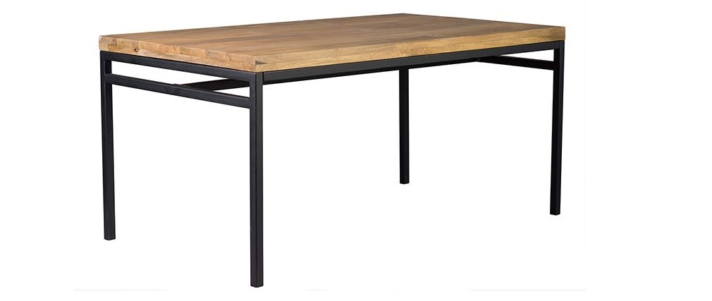Ypster 160X90Cm Industrial Dining Table In Mango Wood And Metal In Mango Wood/iron Dining Tables (View 8 of 25)