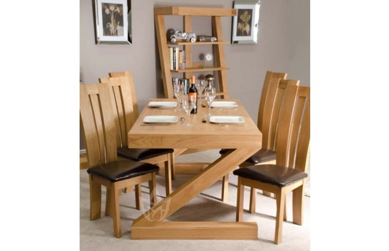 Z Solid Oak Designer Large 6 Seater Dining Table With Chairs | F4Yh Pertaining To Oak 6 Seater Dining Tables (Photo 2 of 25)