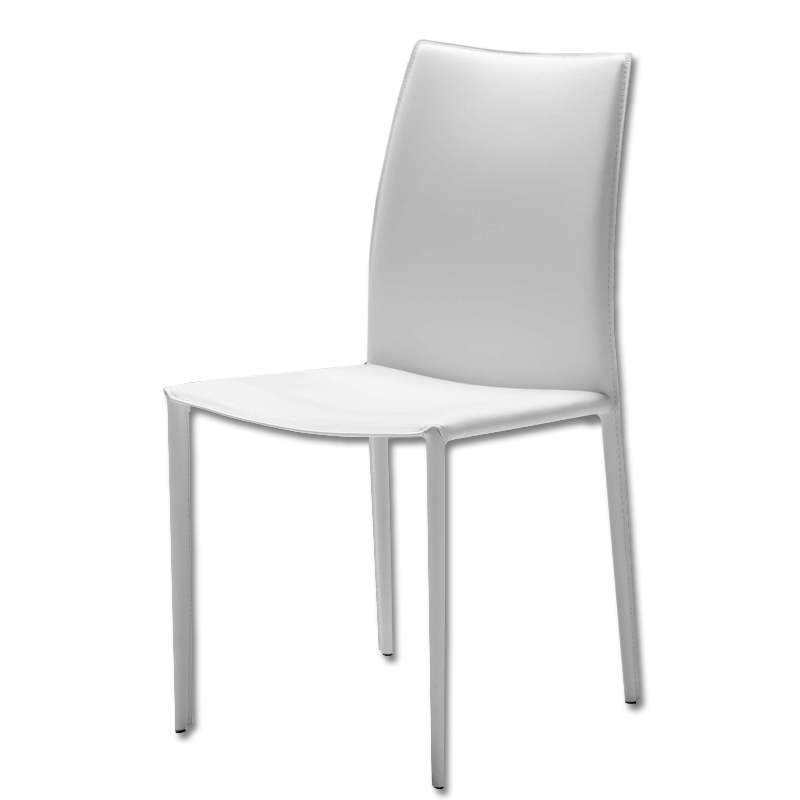 Zak Leather Dining Chair – White | Buy Leather Chairs With Regard To White Leather Dining Chairs (Image 25 of 25)
