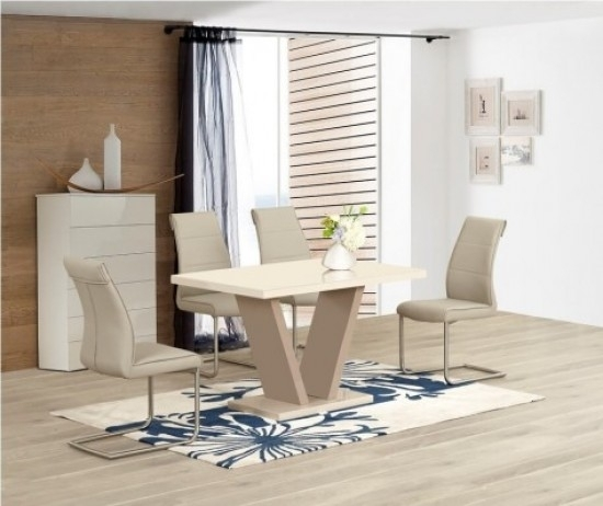 Zara Cream High Gloss Top Small Dining Table And 4 Zayno Cream with High Gloss Cream Dining Tables