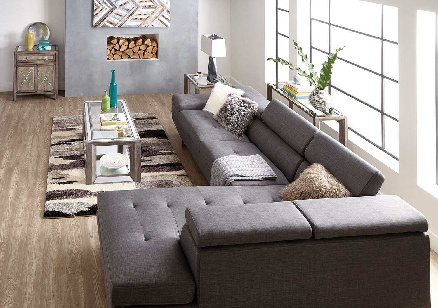 Zeke 2 Piece Linen Look Fabric Right Facing Sectional – Steel Regarding Nico Grey Sectionals With Left Facing Storage Chaise (Image 25 of 25)