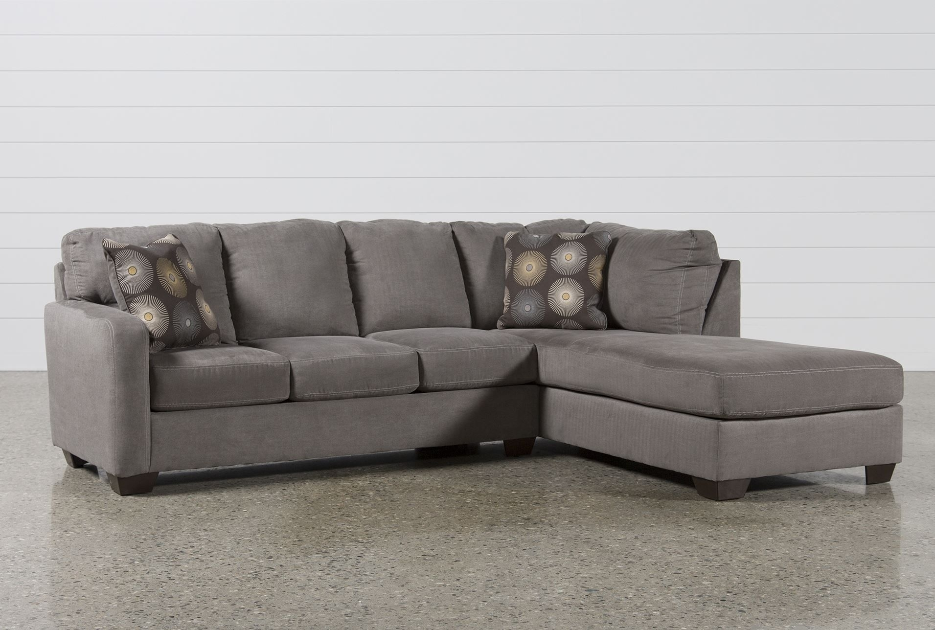 Zella Charcoal 2 Piece Sectional W/raf Chaise | Living Spaces with regard to Avery 2 Piece Sectionals With Raf Armless Chaise