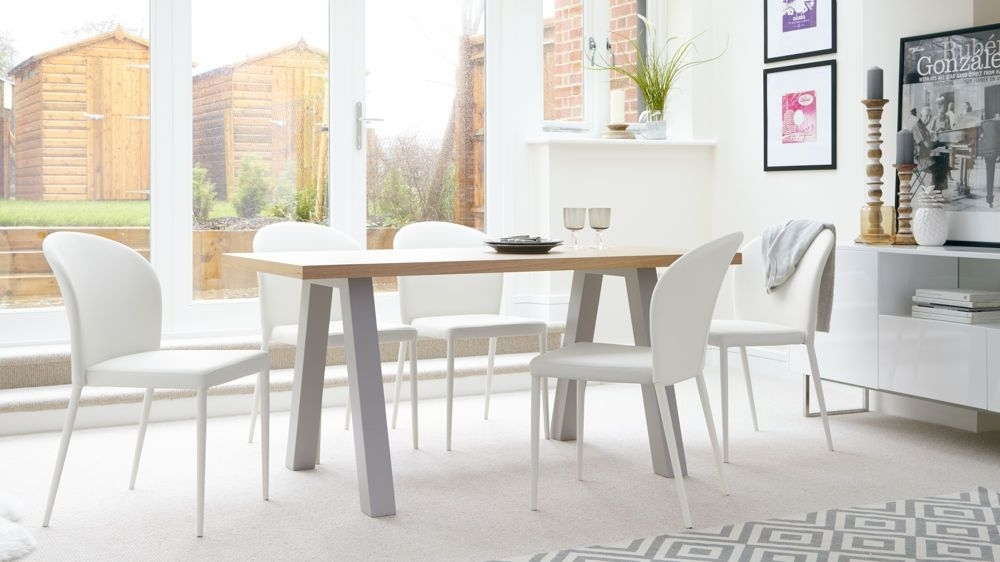 Zen Oak And Santo Stackable 6 Seater Dining Set | Danetti | Modern Inside Oak 6 Seater Dining Tables (Image 25 of 25)