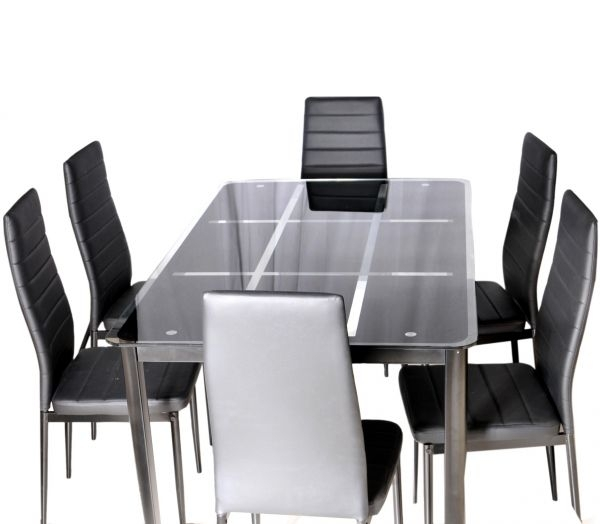 Zena Metal And Glass Dining Table Set, With 6 Chairs, Black 140 Cm X inside Glass Dining Tables With 6 Chairs