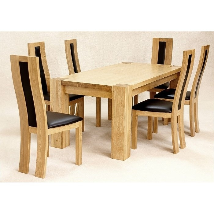 Zeus Rectangular Dining Table In Solid Oak + 6 Chairs pertaining to Benson Rectangle Dining Tables