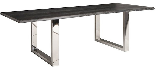 Zinnia Industrial Grey Oak Stainless Steel Dining Table - 78W throughout Lyon Dining Tables