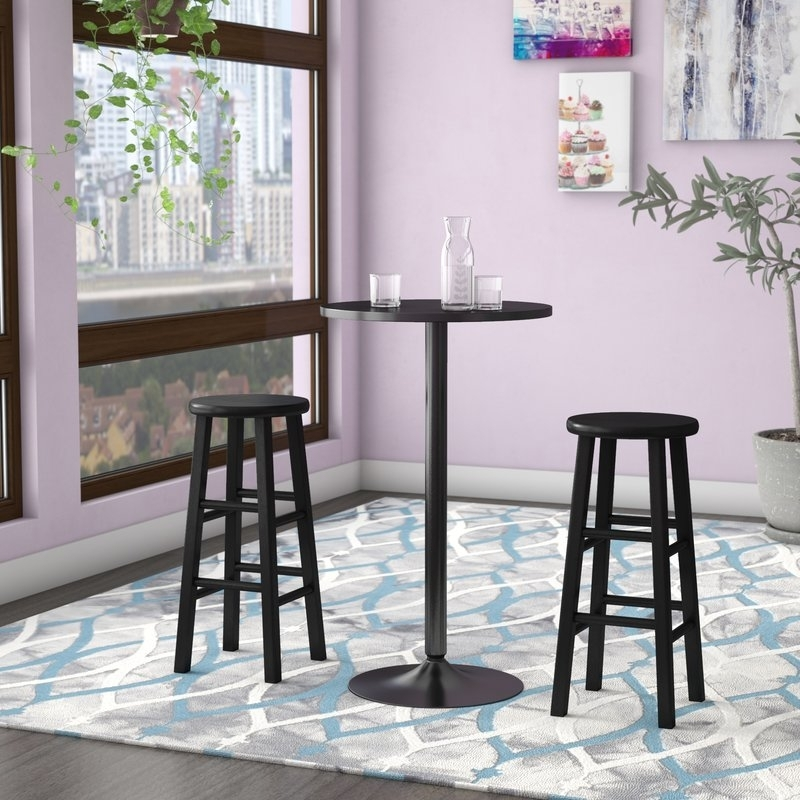 Zipcode Design Avery 3 Piece Counter Height Pub Table Set & Reviews Intended For Laurent 7 Piece Counter Sets With Upholstered Counterstools (Image 25 of 25)