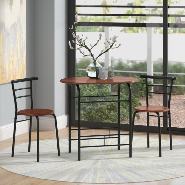 Zipcode Design Volmer 3 Piece Compact Dining Set & Reviews | Wayfair Throughout Compact Dining Sets (Image 25 of 25)