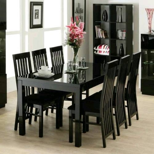 Zone Furniture Black Gloss Dining Table And 6 Chairs | In Airdrie Throughout Gloss Dining Tables And Chairs (Image 25 of 25)