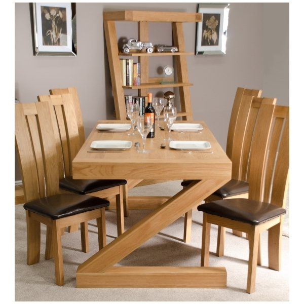 Zouk Solid Oak Designer Furniture Large Chunky Dining Room Table | Ebay Inside Chunky Solid Oak Dining Tables And 6 Chairs (Image 25 of 25)