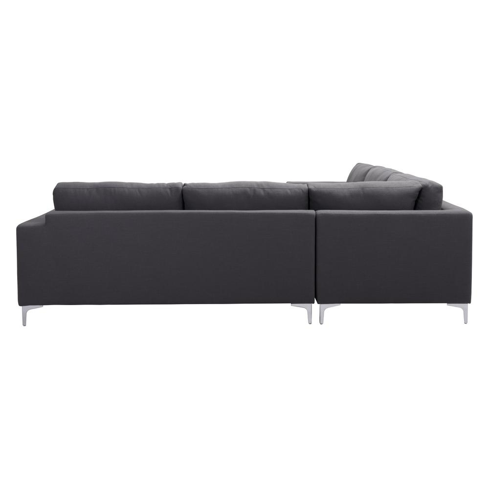 Zuo Ruskin 3-Piece Charcoal Gray Sectional-100783 - The Home Depot inside Jobs Oat 2 Piece Sectionals With Left Facing Chaise