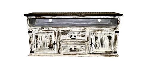 2 Door 2 Drawer Tv Stand White Scraped Western Rustic Real Wood with Well-known Rustic White Tv Stands