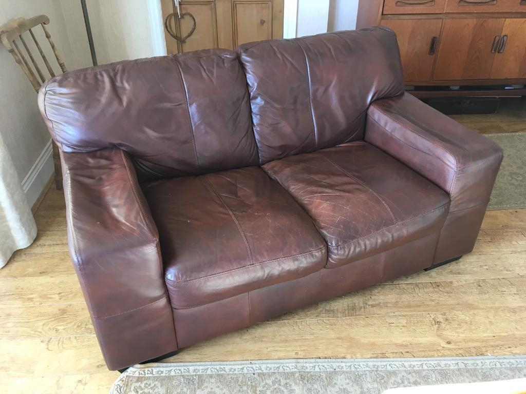 2 Seater Brown Leather Sofa Free | In Spennymoor, County Durham In Andrew Leather Sofa Chairs (View 11 of 25)