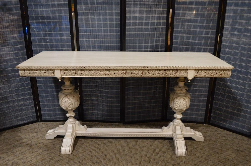 2017 Antique White Distressed Console Tables Within Antique Shabby Cottage Chic Tudor Style Carved Wood Console Table W (Image 1 of 25)